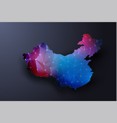 Abstract map of china wire frame 3d vector