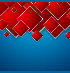 abstract red squares on blue background vector image