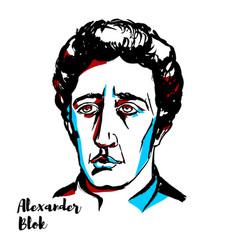 Alexander blok portrait vector