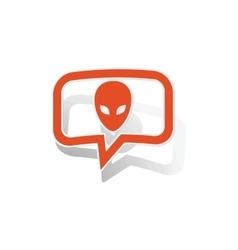 Alien message sticker orange vector
