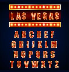 Alphabets lamp light neon gold vector