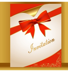 An of the card with a red ribbon for the invitatio vector