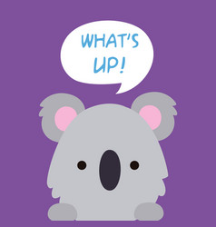 animal koala cartoon koala say whats up backgroun vector image