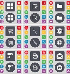 Apps Survey Folder Shopping cart Link Parking CCTV vector