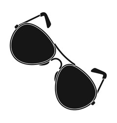Aviator sunglasses icon in black style isolated on vector