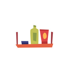bath or shower accessories and bottles on shelf vector image