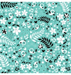 Birds and flowers turquoise blue seamless pattern vector