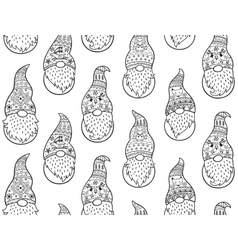 Black and white hand drawn winter gnomes seamless vector