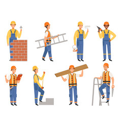 Builder cartoon character funny mascots of vector