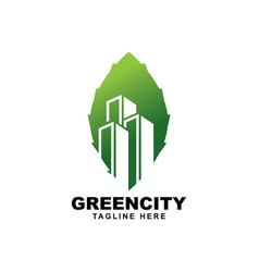 building with leaf symbol logo design vector image