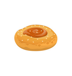 Bun with jam in middle isolated cookie vector