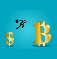 Businessman jumps from small dollar symbol to vector