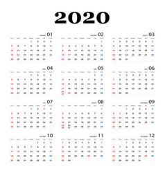 Calendar 2020 template planner new year vector