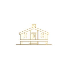 Camping cabin silhouette modern linear style vector