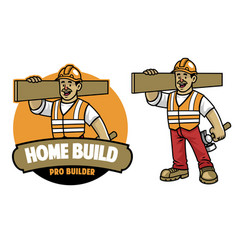 cartoon construction worker mascot vector image
