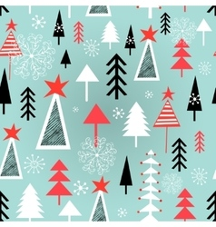 Christmas pattern with trees vector image