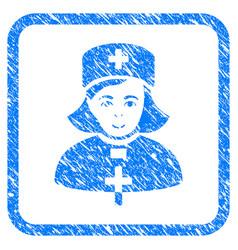 Church female doctor framed stamp vector