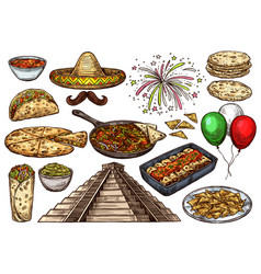 cinco de mayo mexican holiday sketch food vector image