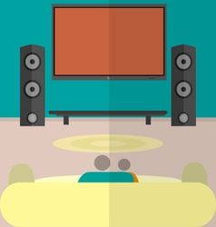 Cinema watching home cinema flat vector