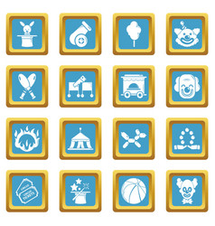 Circus icons set sapphirine square vector