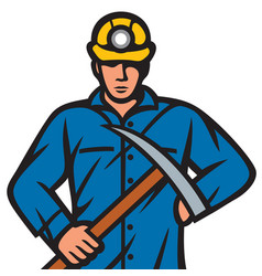 coal miner with pick ax vector image