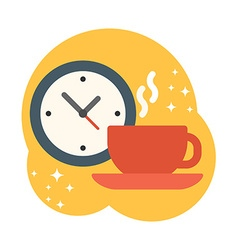 Coffee break Coffee cup with watch Flat style vector image
