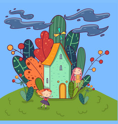 colorful landscape fairytale house with windmill vector image
