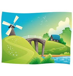 Countryside with windmill vector
