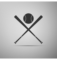 Crossed baseball bats and ball icon vector