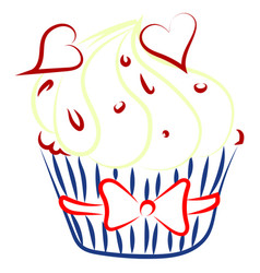 cupcake with hearts drawing on white background vector image
