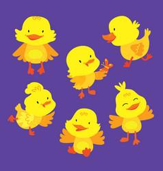 Cute baby duckling animal mascot drawing set vector