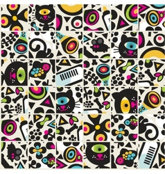 Cute black cats seamless pattern vector