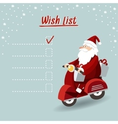 Cute christmas greeting card wish list with Santa vector