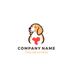 cute dog with love icon logo template vector image