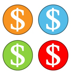 Dollar sign button set vector image