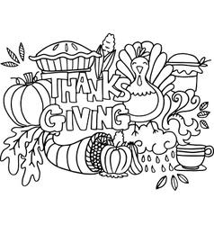 Doodle art happy thanksgiving element vector