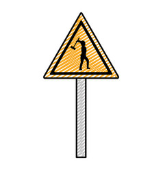 Doodle triangle caution emblem and laborer with vector