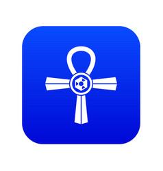 Egypt ankh symbol icon digital blue vector