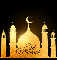 Eid festival background with golden mosque vector