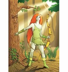 Elf female archer vector