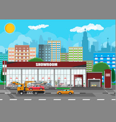 Exhibition pavilion car dealership vector