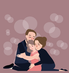 Family hug care father mother to their daughter vector