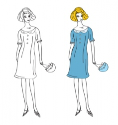 fashion girl in retro dress vector image
