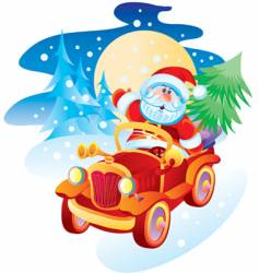 Father christmas by the machine vector