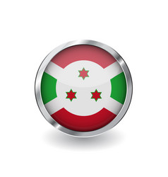 flag of burund button with metal frame and shadow vector image
