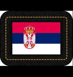 Flag of serbia icon on black leather backdrop vector