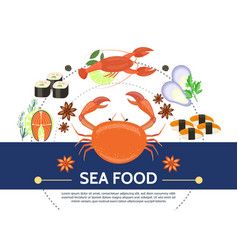 Flat colorful seafood composition vector