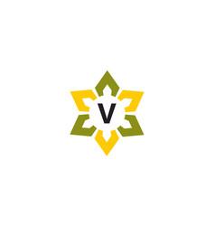 Flower infinity letter v vector
