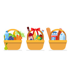 food baskets christmas gift foods package with vector image