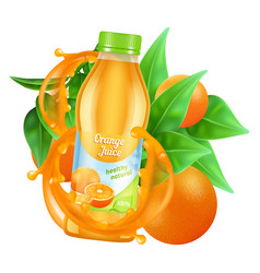 fresh orange juice realistic juice bottle vector image